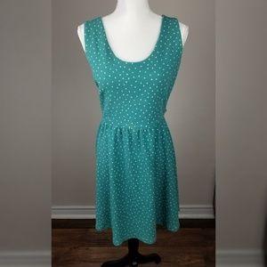LC Lauren Conrad Polka Dot A Line Stretch Dress L